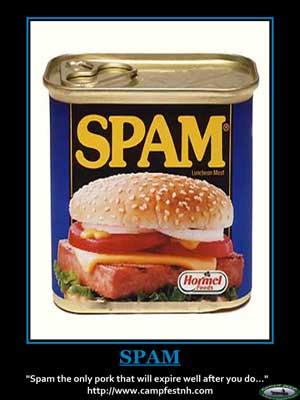 Spam the only pork that will expire well after you do.